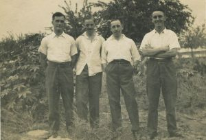 Alfie Knowles, Alfie Adams, Charlie Bartrum and Hugh Gascoyne at Hillah, Babylon, Iraq 1937